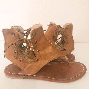 Women's Sandals Lace up Flats Thong Flip Flop